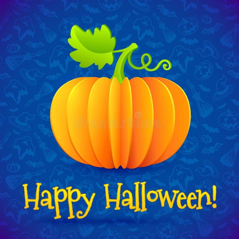 Zucca di carta arancio luminosa di vettore di Halloween illustrazione di stock