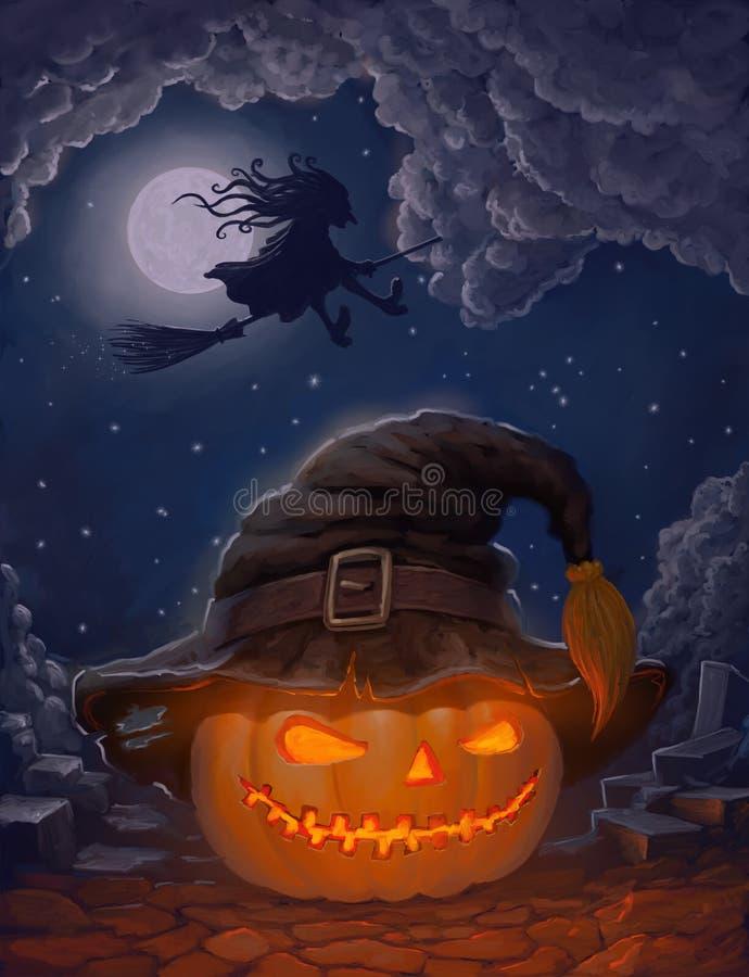 Zucca di Halloween in cappello di una strega e con la strega su una scopa contro la luna royalty illustrazione gratis