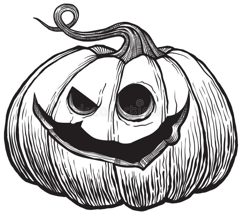 Zucca di Halloween con il fronte arrabbiato spaventoso illustrazione di stock