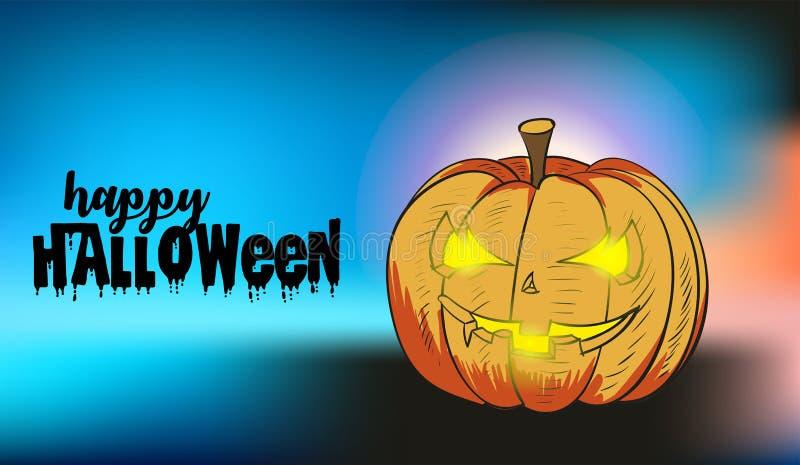 Zucca di Halloween con il fronte felice su fondo vago illustrazione di stock