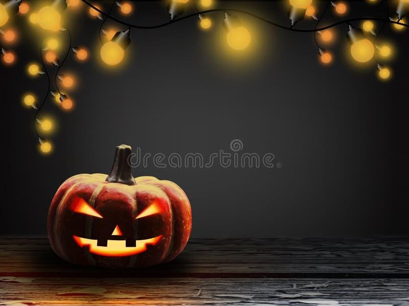 Zucca di Halloween con la lampadina alla notte illustrazione vettoriale