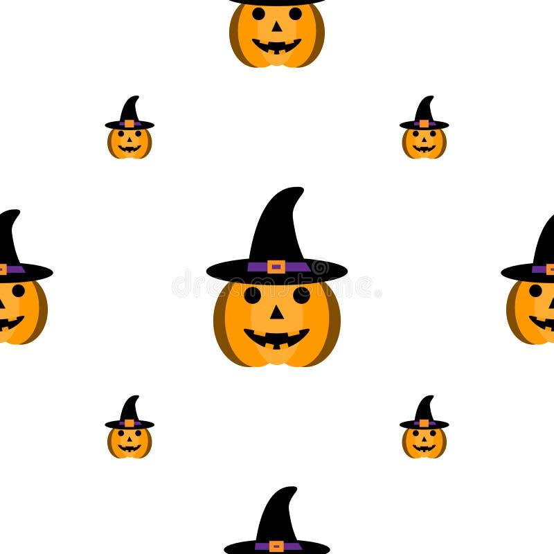 Zucca di Halloween del fumetto con il cappello isolato su fondo bianco Illustrazione di vettore Reticolo senza giunte EPS10 illustrazione di stock