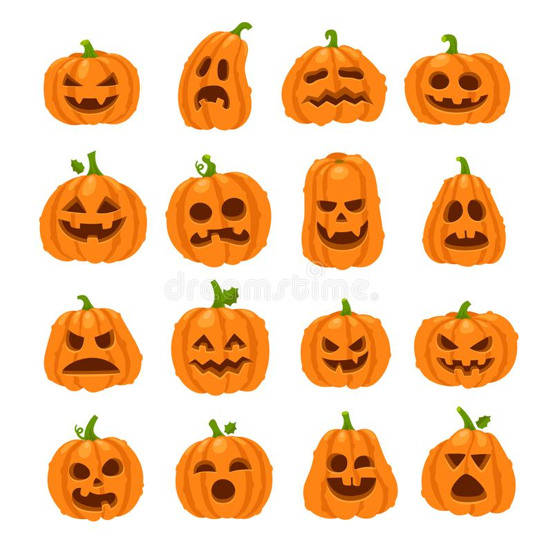 Zucca di Halloween del fumetto Zucche arancio con la scultura dei fronti sorridenti spaventosi Fronte felice di verdure della zuc illustrazione vettoriale