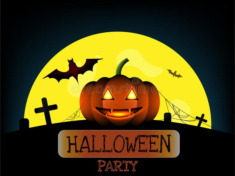 Zucca di Halloween e pipistrello rosso di orrore sul cimitero in una luna piena illustrazione di stock