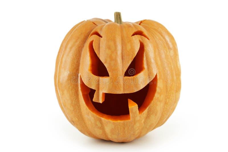Zucca di Halloween isolata su priorità bassa bianca fotografia stock libera da diritti
