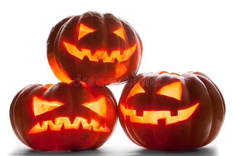 Zucca di Halloween isolata su priorità bassa bianca immagine stock libera da diritti