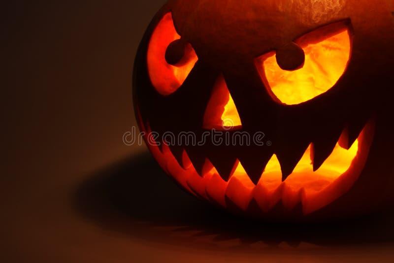 Zucca di Halloween nello scuro fotografia stock