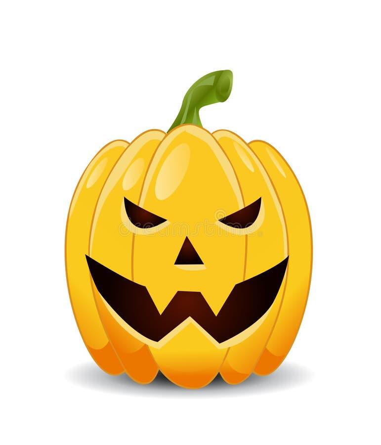 Zucca di Halloween su bianco illustrazione vettoriale