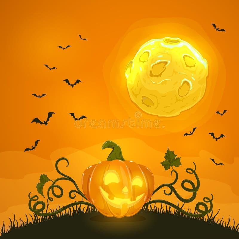 Zucca di Halloween sul fondo arancio di notte con la luna ed i pipistrelli royalty illustrazione gratis