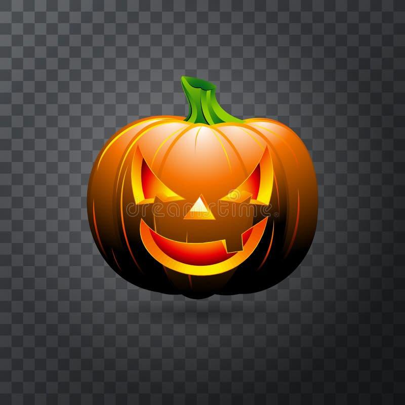 Zucca di Halloween di vettore con la candela dentro Zucca felice di Halloween del fronte isolata su fondo trasparente illustrazione vettoriale