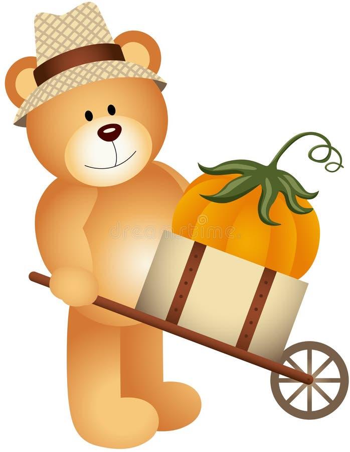 Zucca di trasporto dell'orsacchiotto in carretto di legno illustrazione vettoriale