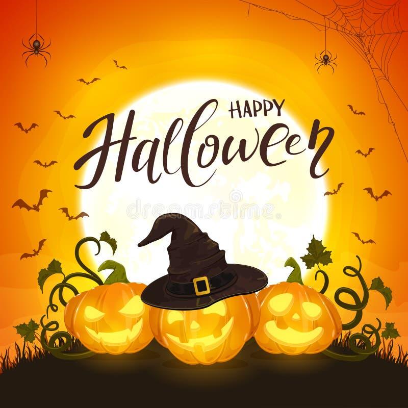 Zucca di tre Halloween con il cappello della strega su fondo arancio w illustrazione vettoriale