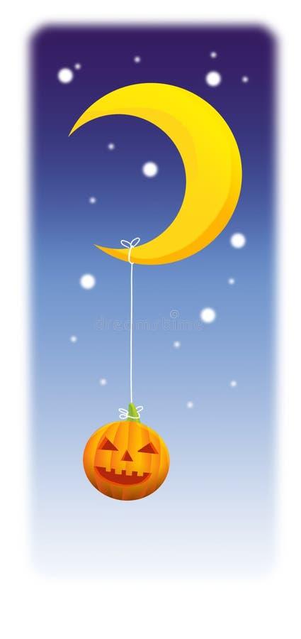 Zucca divertente di Halloween con la luna crescente immagini stock libere da diritti