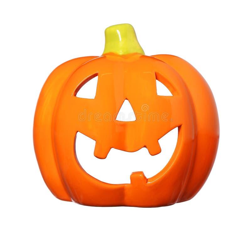 Zucca felice ceramica di Halloween, lanterna di Jack O isolata fotografia stock libera da diritti
