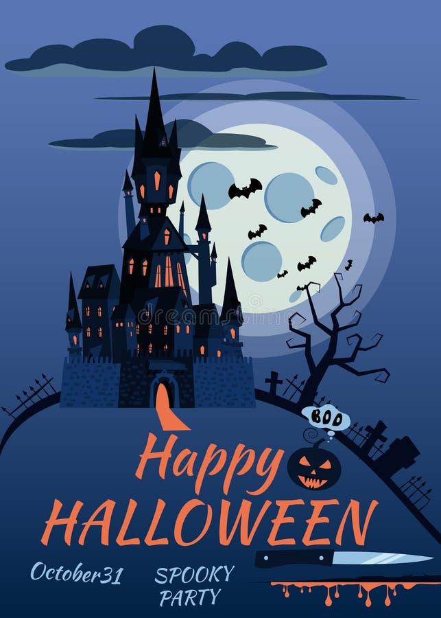 Zucca felice di Halloween in cimitero, castello nero abbandonato, notte scura della luna piena, incroci e pietre tombali illustrazione di stock