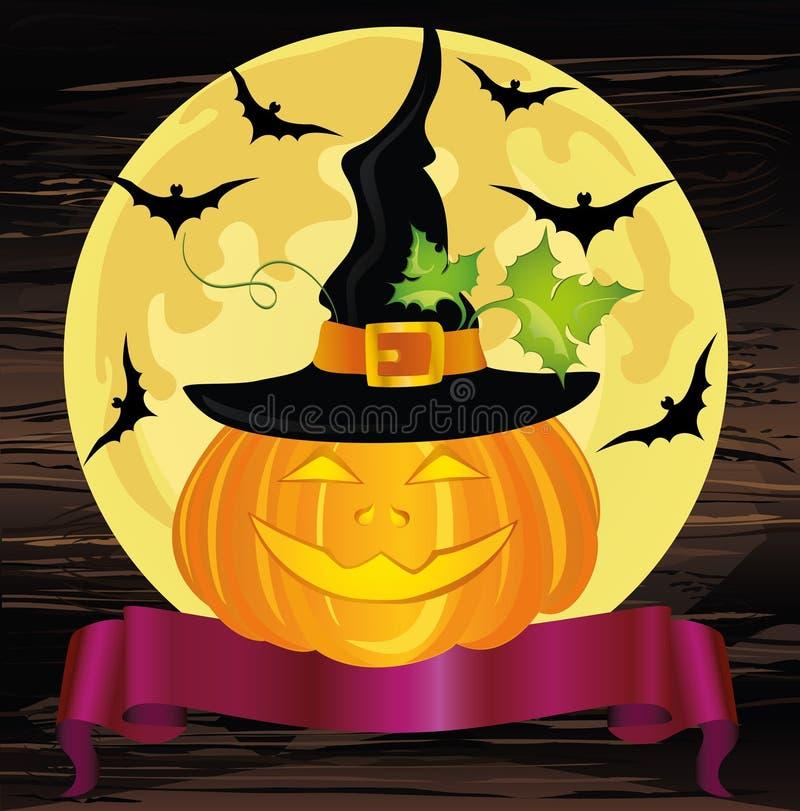 Zucca felice di Halloween con un cappello della strega Nastro per testo Vecto illustrazione vettoriale