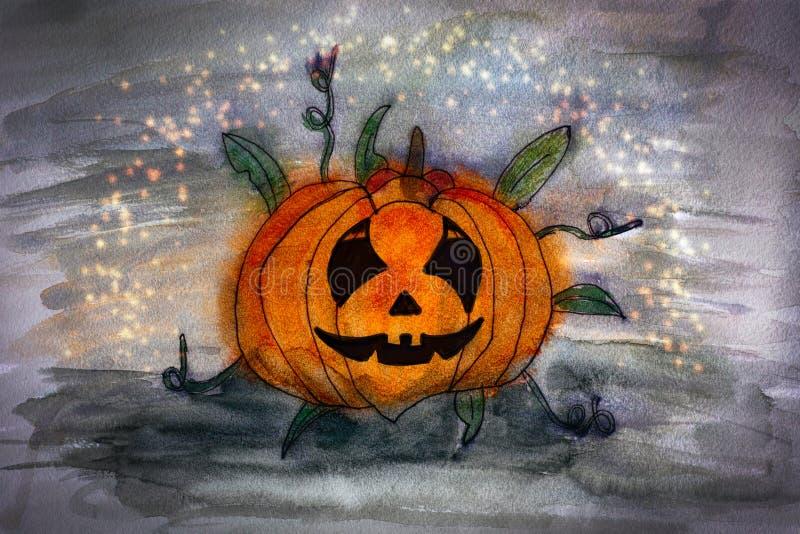 Zucca intagliata di Halloween Disegno acquerello della mano illustrazione di stock