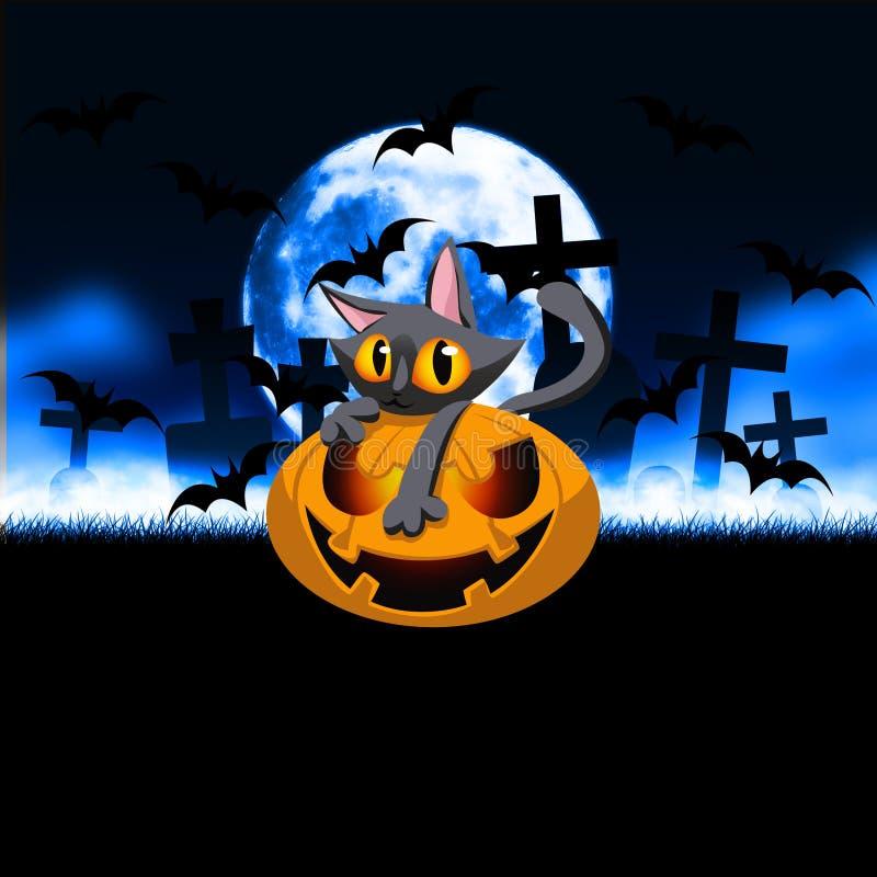 Zucca Kitty Halloween Graveyard royalty illustrazione gratis