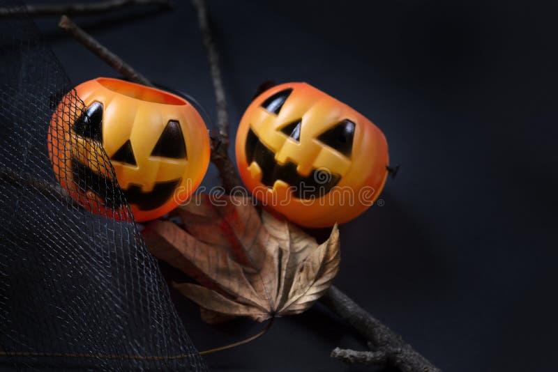 Zucca operata di Halloween con la foglia secca su fondo blu scuro immagini stock libere da diritti
