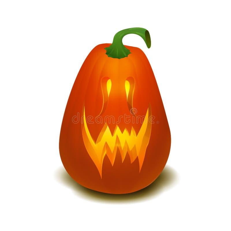 Zucca realistica di Halloween di vettore con la candela dentro Zucca felice di Halloween del fronte isolata su fondo bianco royalty illustrazione gratis