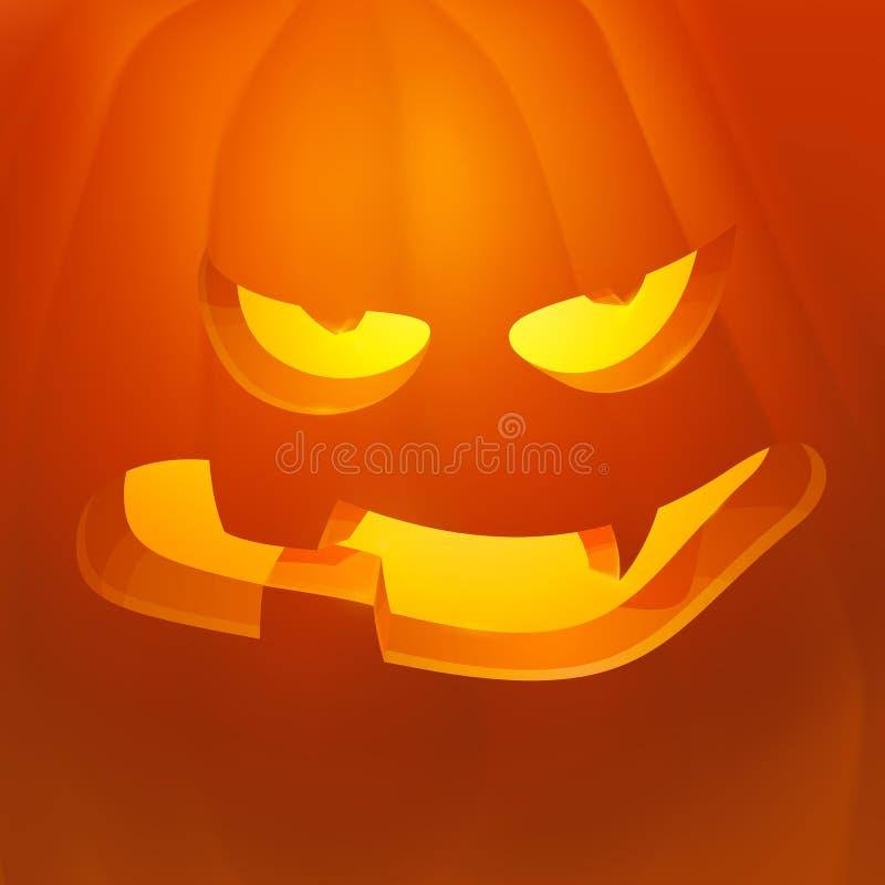 Zucca realistica di Halloween di vettore con la candela dentro Il fumetto diabolico Emoji della zucca di Halloween affronta il ca illustrazione vettoriale