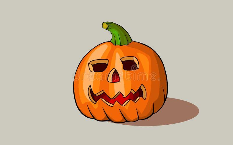 Zucca scolpita per progettazione di Halloween Vettore illustrazione di stock