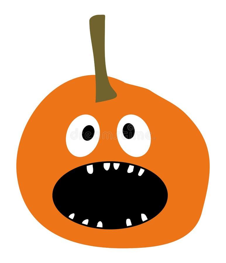 Zucca sorridente della zucca arancio di vettore dell'icona della zucca dell'icona della zucca di Halloween su una zucca piana sem royalty illustrazione gratis