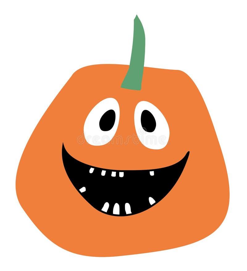 Zucca sorridente della zucca di vettore di Halloween della zucca dell'icona della zucca di vettore arancio dell'icona su una prog illustrazione di stock