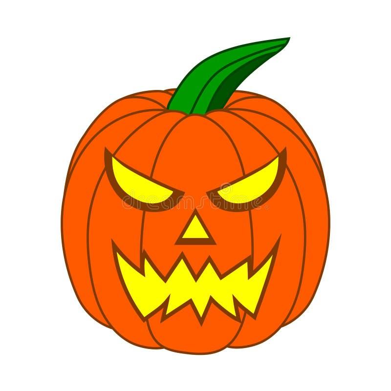 Zucca spaventosa di Halloween del fumetto con il fronte divertente isolato su fondo bianco per la vostra progettazione, gioco Ill illustrazione vettoriale