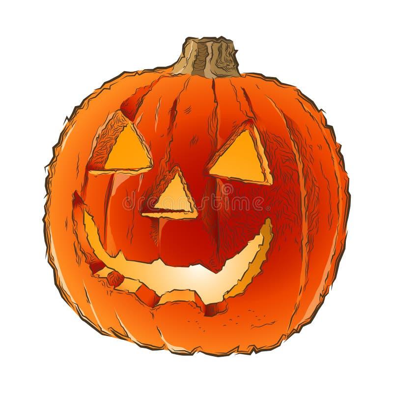 Zucca spaventosa di Halloween della lanterna di Jack O con l'interno della luce della candela isolato su un fondo bianco Linea ar illustrazione vettoriale