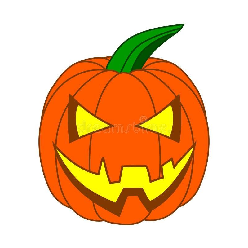 Zucca sveglia di Halloween del fumetto con il fronte divertente isolato su fondo bianco per la vostra progettazione, gioco Illust illustrazione di stock