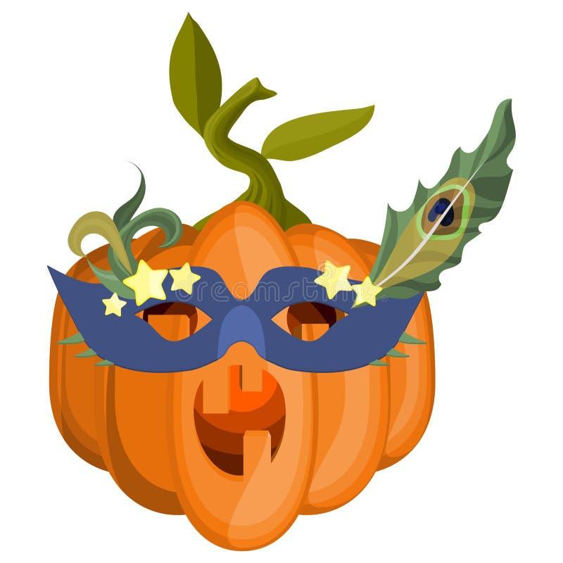 Zucca in una maschera di travestimento con le piume del pavone illustrazione vettoriale