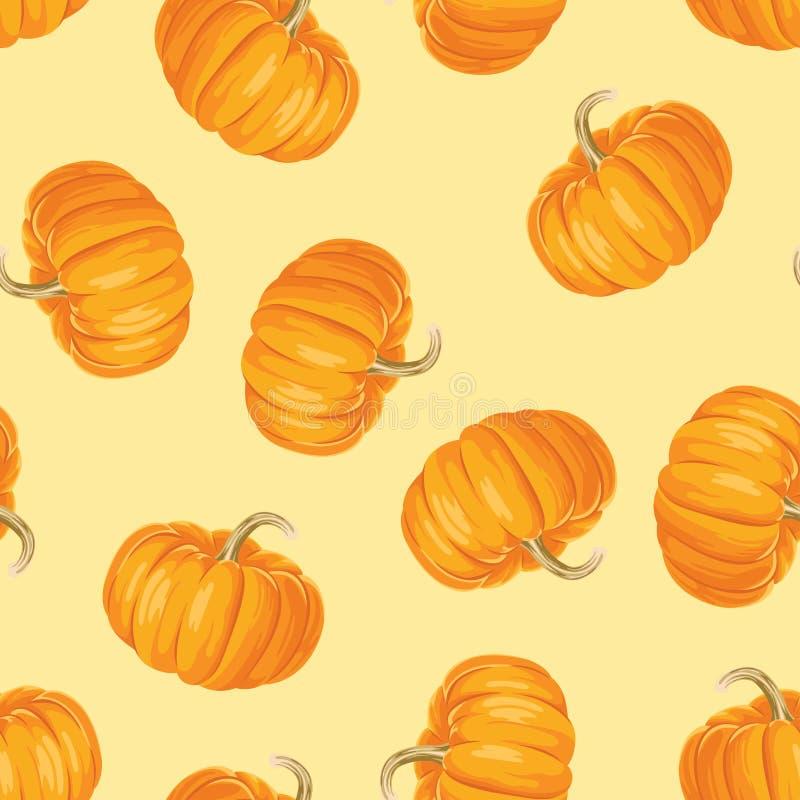 Zucche arancio sul modello senza cuciture del fondo giallo Fondo di giorno di ringraziamento illustrazione vettoriale
