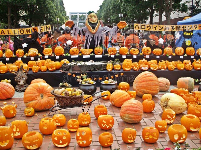 Zucche arancio variopinte nel festival di Halloween fotografia stock libera da diritti