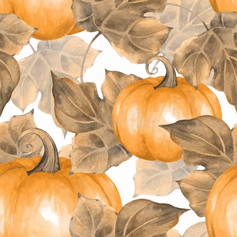Zucche arancioni Pattern2 senza cuciture illustrazione vettoriale