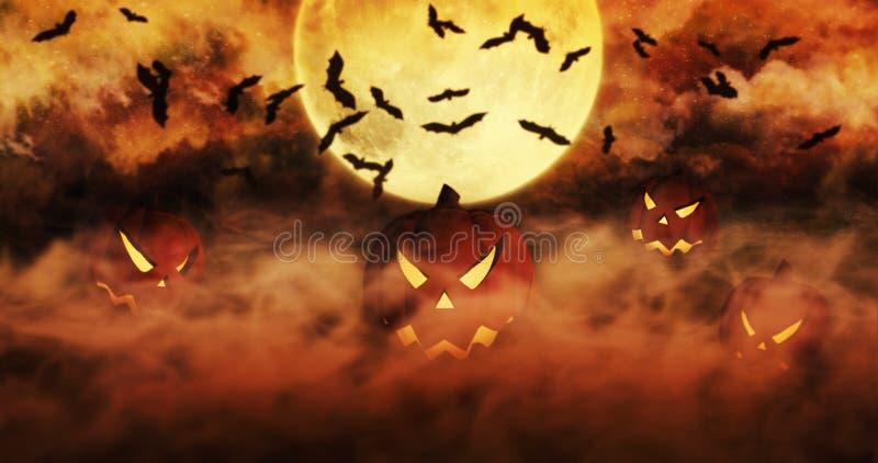 Zucche di Halloween all'aumento del cimitero dalla foschia con i clo illustrazione vettoriale