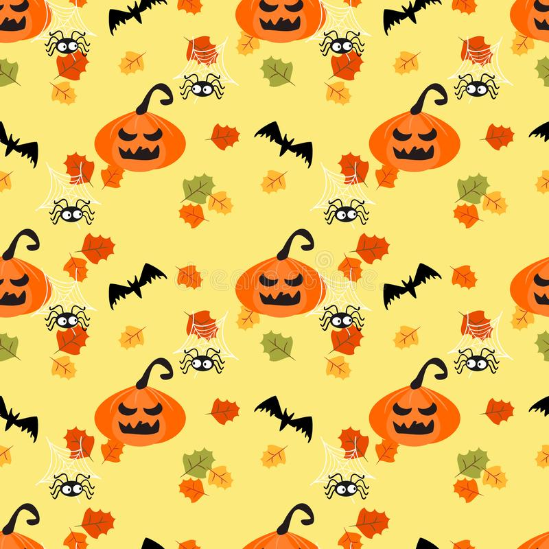 Zucche di Halloween e foglie di autunno illustrazione vettoriale