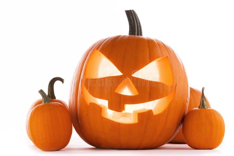 Zucche Di Halloween Con Le Candele E La Carta Fotografia ...
