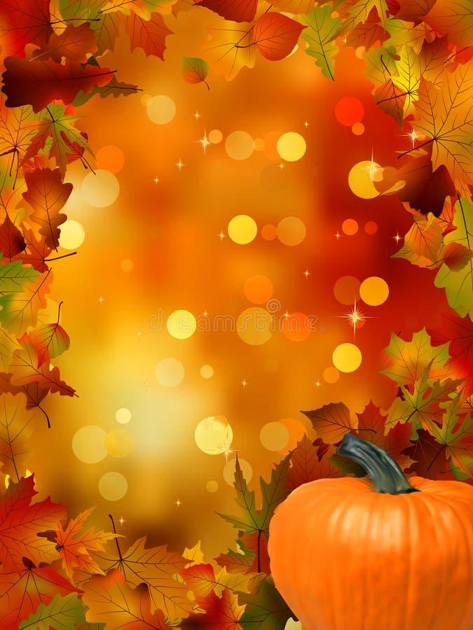 Zucche e fogli di autunno. ENV 8 royalty illustrazione gratis