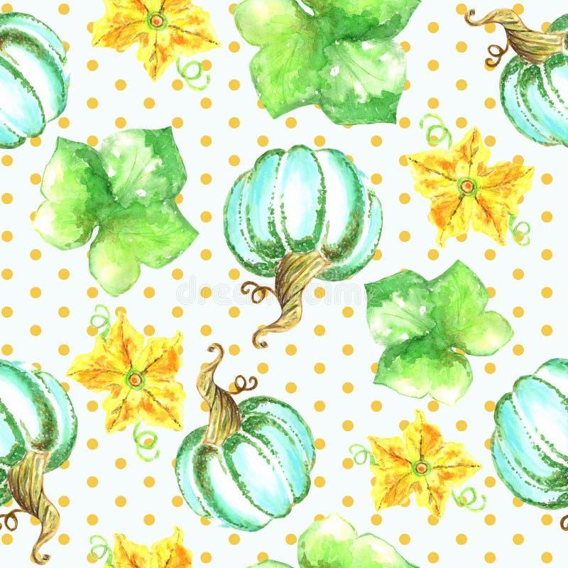 Zucche, fiori, modello senza cuciture delle foglie illustrazione vettoriale
