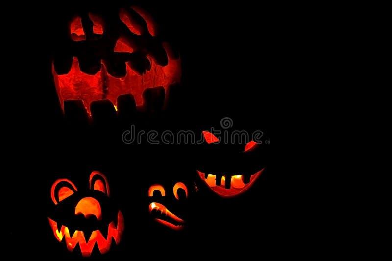 Zucche illuminate di Halloween immagine stock
