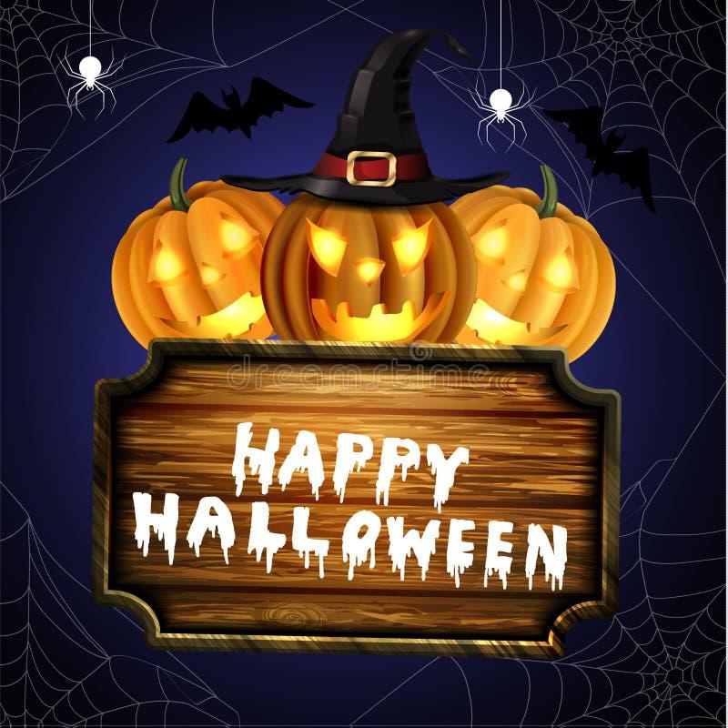 Zucche spaventose di Halloween della lanterna di Jack O illustrazione vettoriale