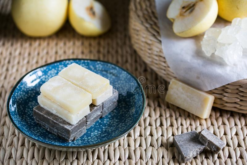 Zucchero della pasta della pera immagini stock