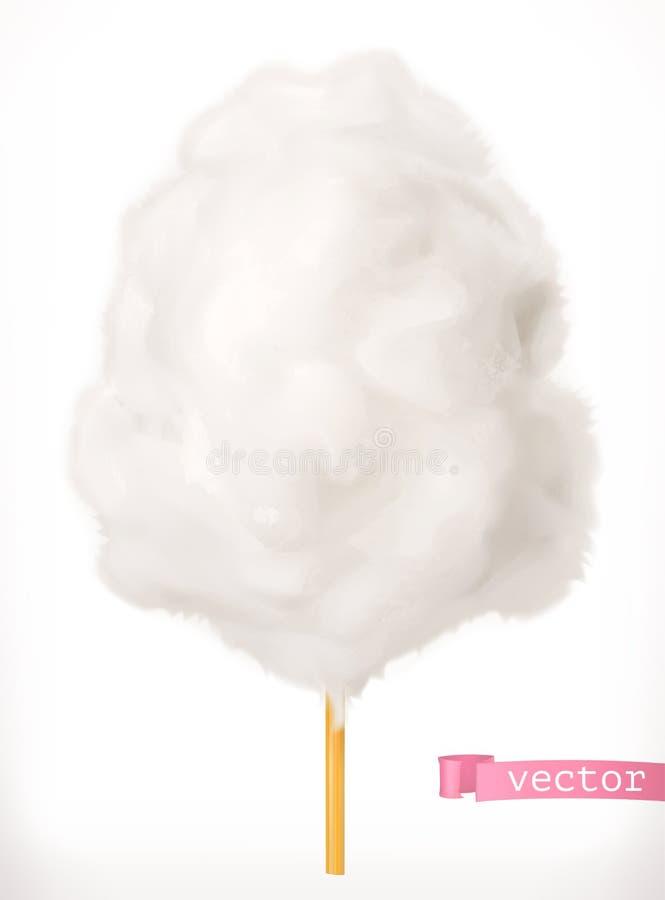 Zucchero filato bianco Lo zucchero si appanna l'icona di vettore 3d illustrazione vettoriale