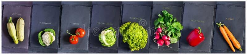 Zucchini bulgarisk peppar, tomat, ung kål, grönsallat, blomkål, morötter, rädisa på skärbrädor En collage av foto C royaltyfria bilder