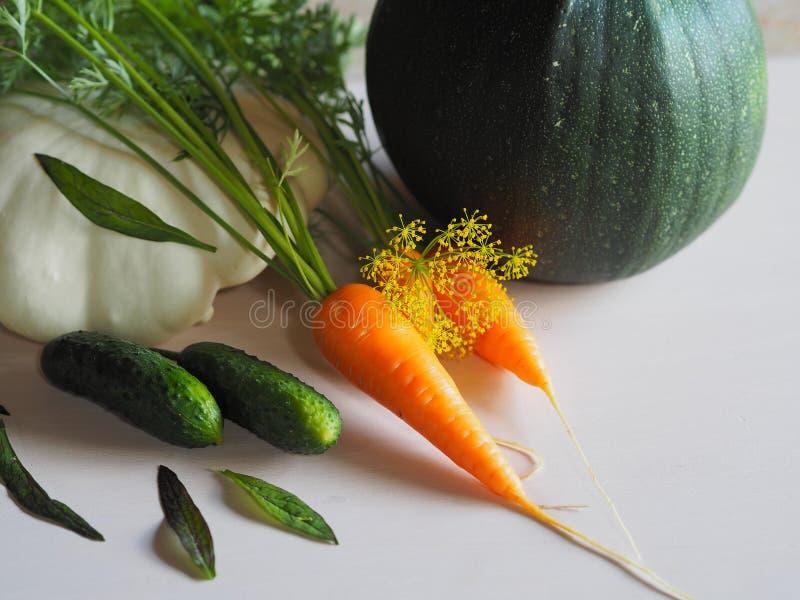 Zucchini, carote, cetrioli ed erbe fotografia stock