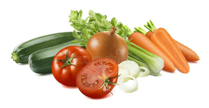 Zucchini, celery, tomato, carrot and onion isolated on white background royalty free stock photography
