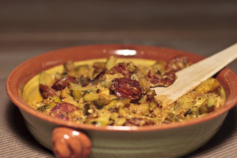 Zucchini with chorizo stock photo