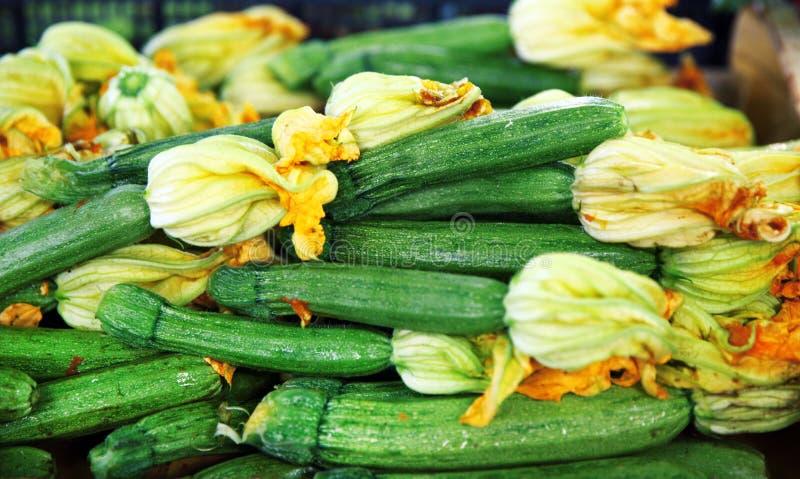 Zucchini con i fiori immagini stock libere da diritti