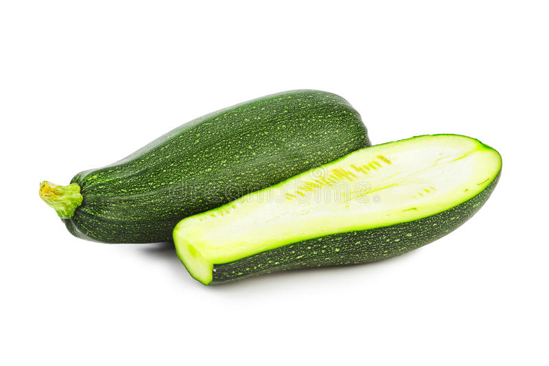 Zucchini courgette. Isolated on white background stock images